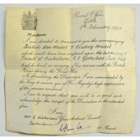 Letter received by Wilfred Nicholson's next of kin