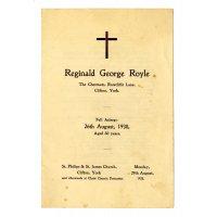 Reginald George Royle's Funeral