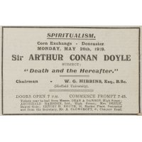 Arthur Conan Doyle advert in the local newspaper