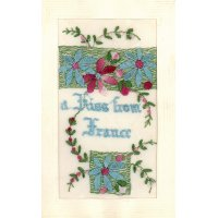 A Kiss from France silk postcard